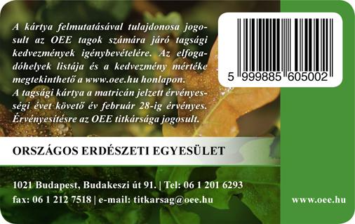 OEE tagsági kártya hátlap